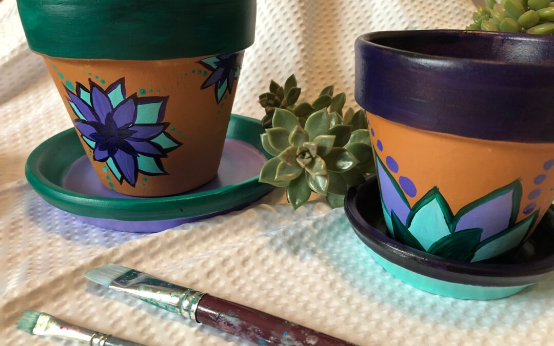 """Paint and Sip – Terracotta Pots with Succulents"" Workshop with Arielle Sekula 04/17/21"