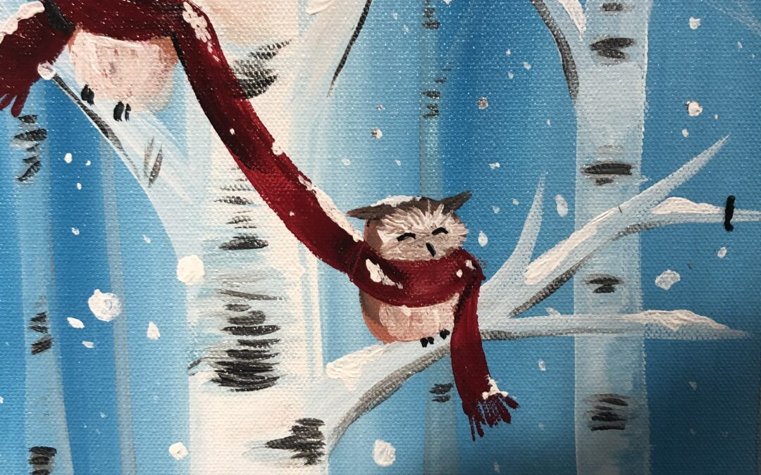 """""""Paint and Sip"""" – owls snuggling with Arielle Sekula – 01/21"""